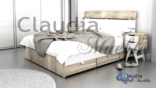 respaldo sommier madera 2 plazas queen laqueado nordico