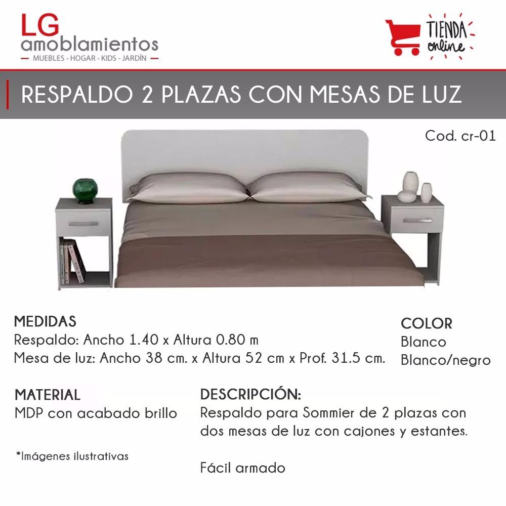Respaldo,cabecera Para Sommier De 2 Plazas C/ 2 Mesas De Luz ...