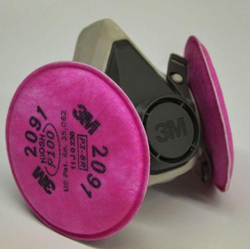 respirador 3m doble filtro p100 niosh polvos humos metalicos