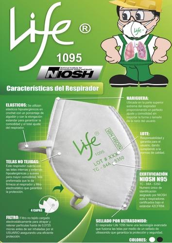 respirador, mascarillas, tapabocas life n95, por 10 unidades