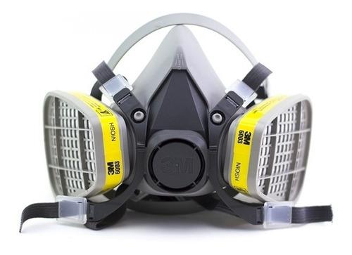respirador media cara mascara 6200 + filtros 6003 g/v 3m