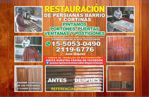 restauracion!! persianas barrios , cortinas y postigones