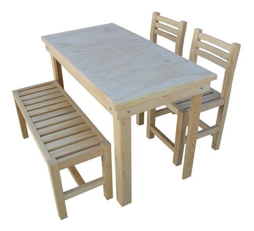 restaurante bar comedor 4 personas con banca o sillas madera uso rudo