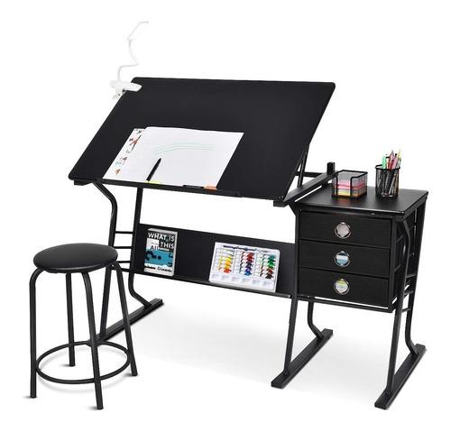 restirador mesa de dibujo trabajo escritorio + banco ngr msi