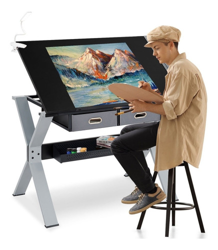 restirador mesa dibujo trabajo escritorio c/banco y cajones