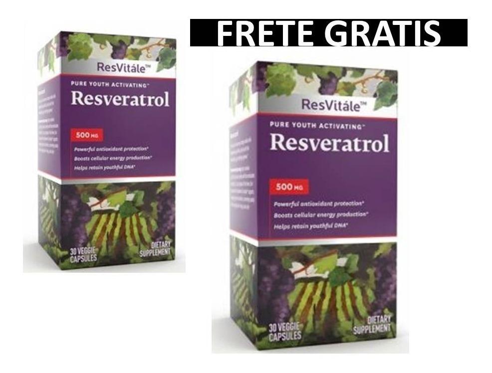 Resveratrol 500mg Resvitale 60 Caps Kit 2 Frete Gratis R
