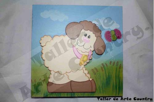 retablo con aplique de oveja en arte country