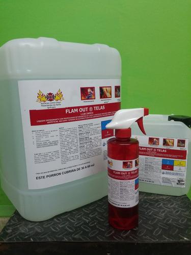 retardante de flama, antiflama liquido para telas 1 lt