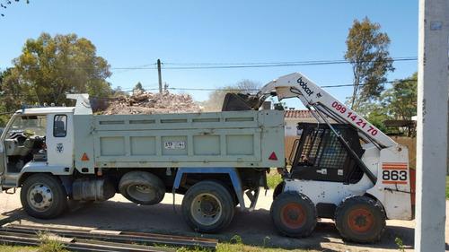 retiro escombros relleno bobcat retro limpieza camion pala