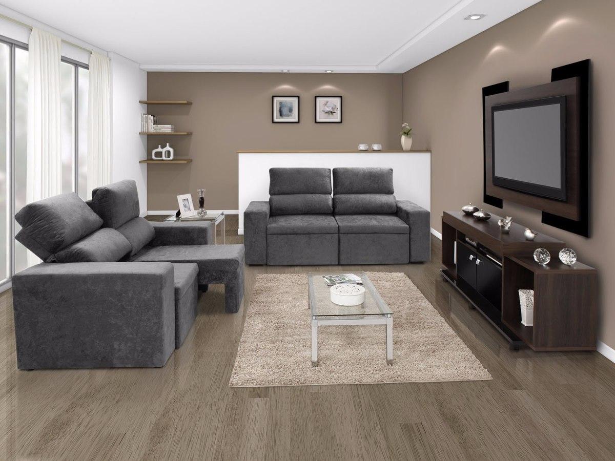 Sof cinza retr til para sala encosto confort reclin vel for Sofa que vira beliche onde comprar