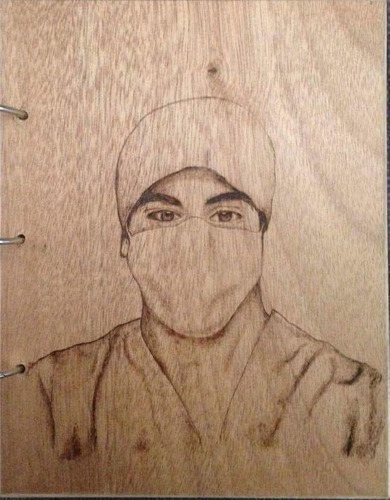 retrato con pirograbado en madera con tu foto envío gratis