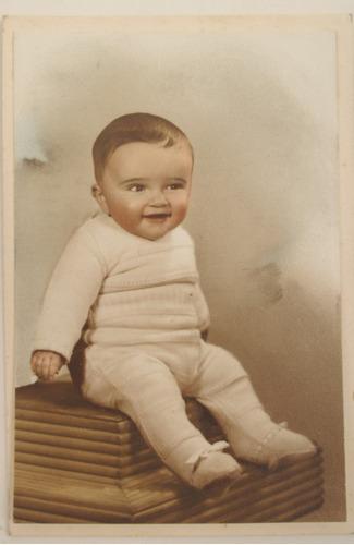 retrato de niño bebe foto coloreada 1950 antiguo