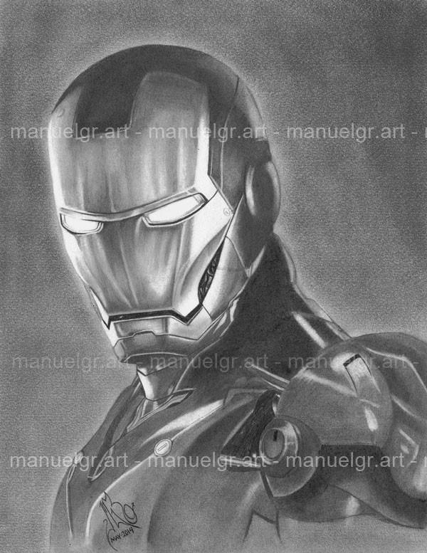 Retrato Dibujo Ironman Marvel Comics Lapiz Vengadores 29900 En