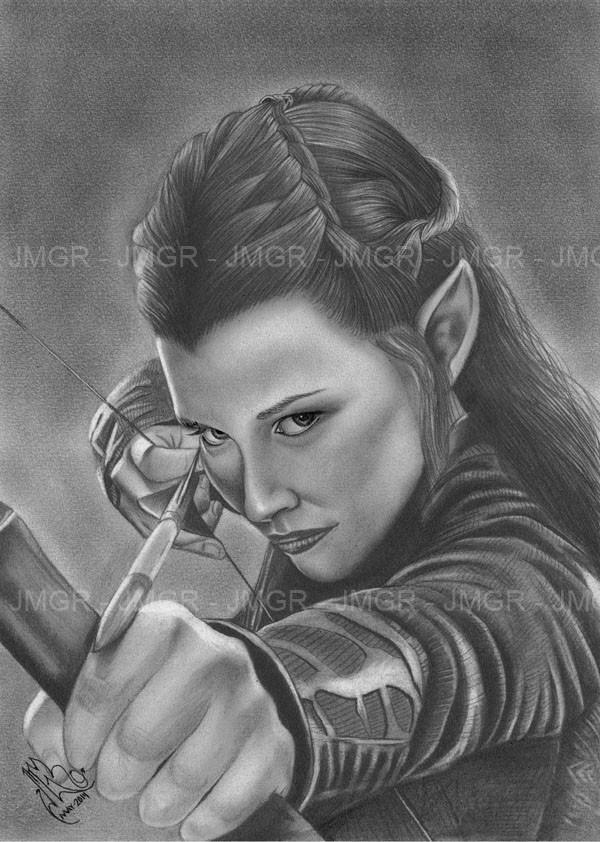 Retrato Dibujo Tauriel El Hobbit Elfo Tolkien Señor Anillos