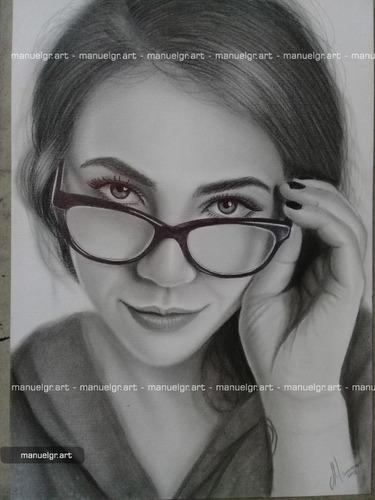 retratos artísticos a mano con lápiz dibujo 25x35cm 1 rostro