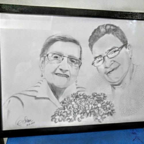 retratos en lápiz carboncillo