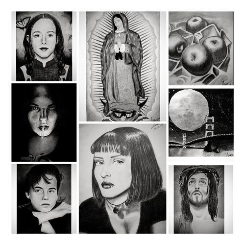 retratos y dibujos a lápiz