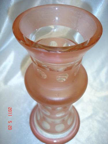 retro antiguo florero jarron vidrio rosado vintage (3375p)