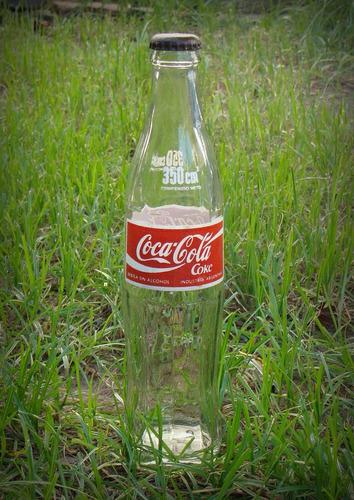 retro botella vidrio coca cola 350 cc con chapita años 90