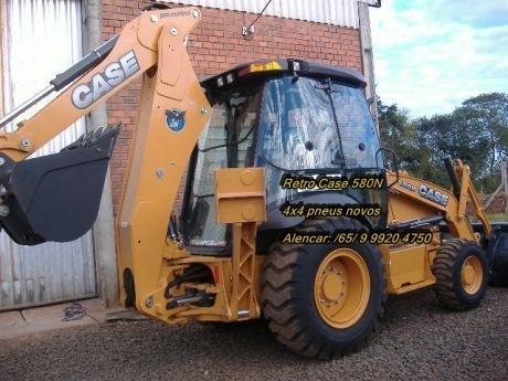 retroescavadeira case 580n 4x4 cabinada ar turbo pneus novos