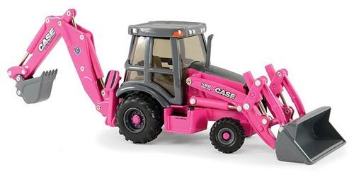 retroexcavadora case 580 super n escala 1:50 rosa y clasico