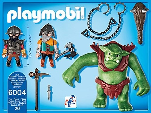 retromex playmobil 6004 ogro con guerreros medieval troll