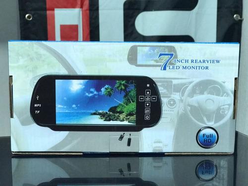 retrovisor 7  led tactil 1080p usb,sd,bluetooth,playsound