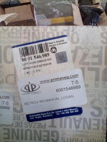 retrovisor derecho renault logan manual original nuevo