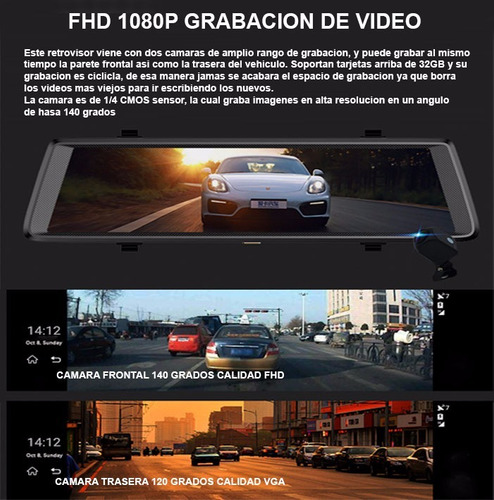 retrovisor dvr android iphone 10' gps camaras wifi bluetooth