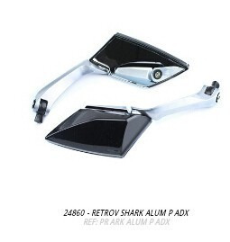 retrovisor espelho shark aluminio preto + brinde