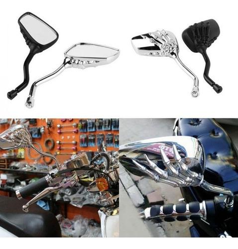 retrovisor  para moto espejos manos calaver universal cromo