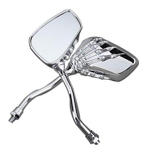 retrovisor para moto espejos manos calavera universal cromo