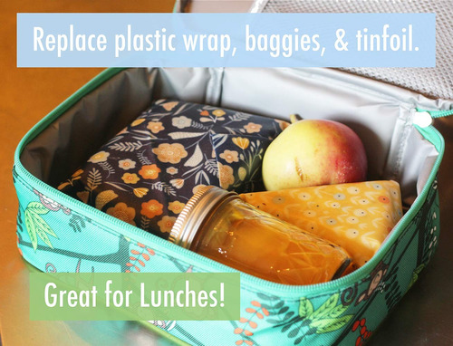 reusable beeswax food storage wraps - 5 piece assorted size