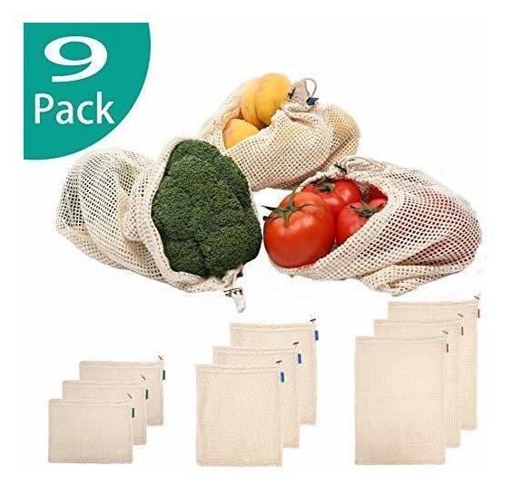 Juego de 3 Almacenamiento Sin blanquear Libre de poli/éster Compras Biodegradable Brocoly Bolsas organicas de Malla Reutilizables Organizacion 100/% algod/ón Natural