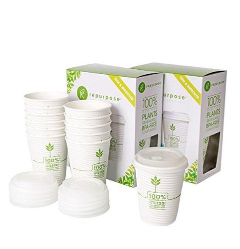 reutilizar 100% compostable plant-based taza aislada calient