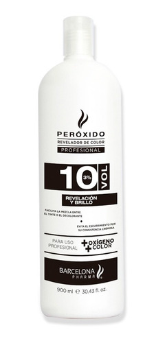 revelador de color  10 vol profesional+oxígeno+ color 900ml