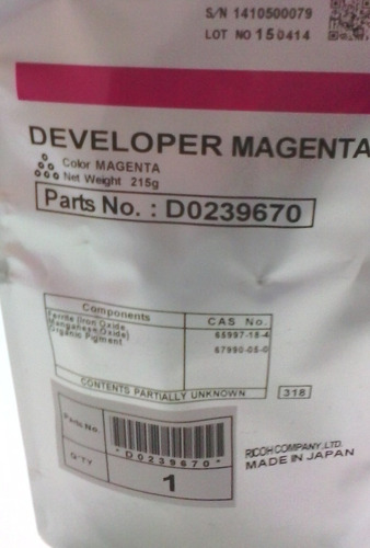 revelador ricoh magenta mpc-2800/3300/4000/5000. d0239670