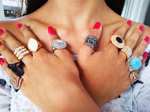 revenda kit 50 anel strass pedra bijuteria fina atacado