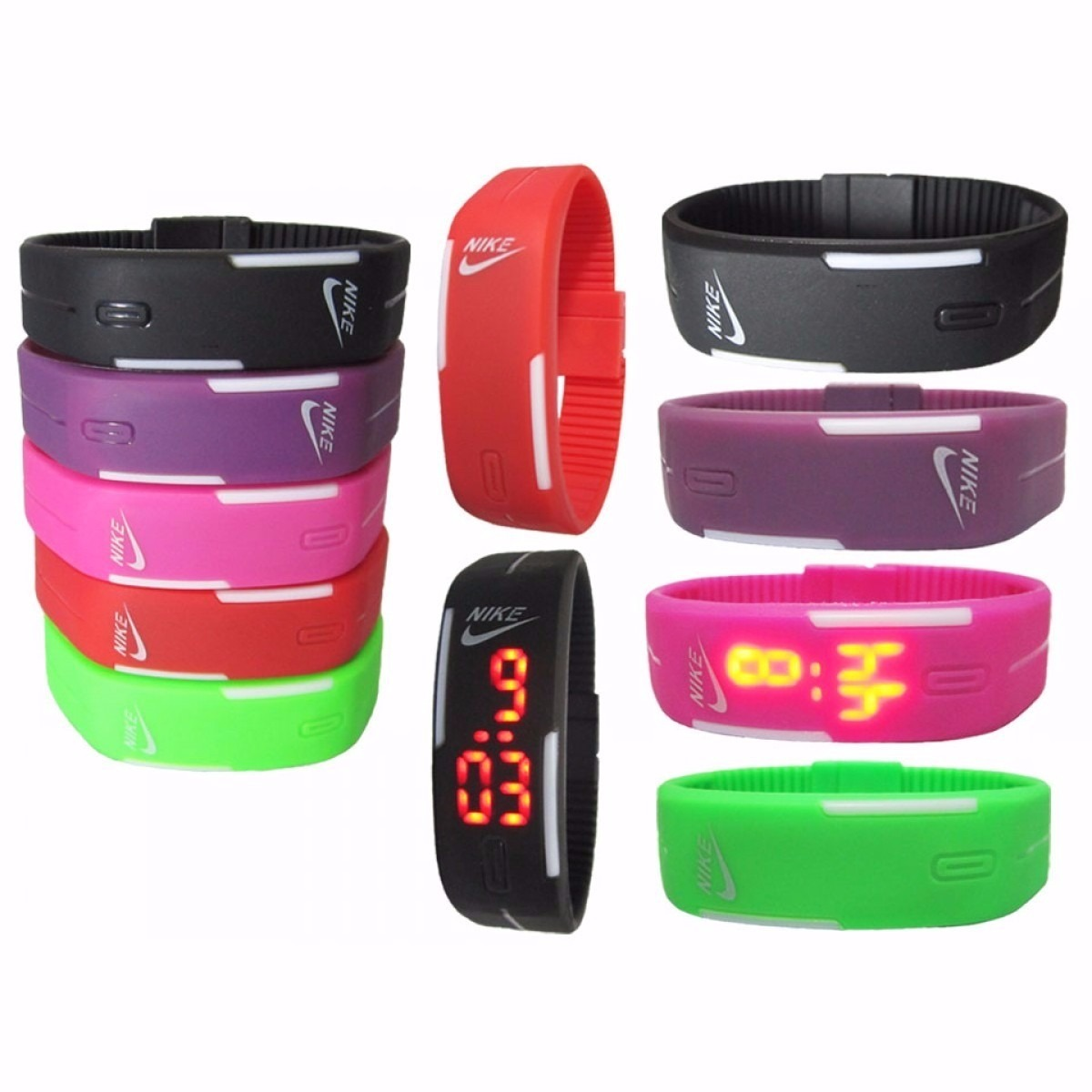 3dac2875225 Revenda Relogio Nike Digital Led Watch Silicone Kit - R  110