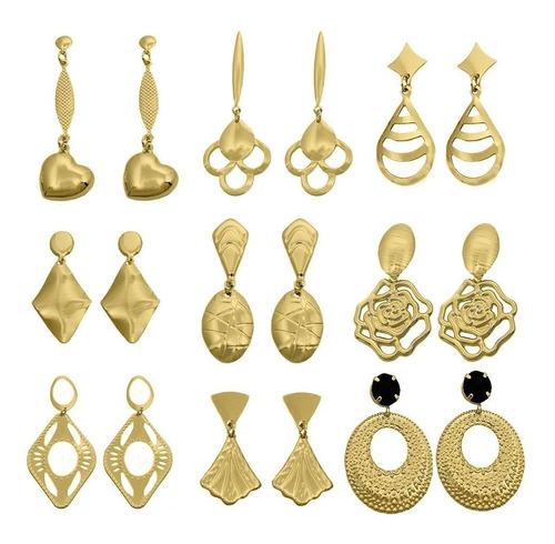 revendedor kit mostruário com 65 peças joias folhadas a ouro