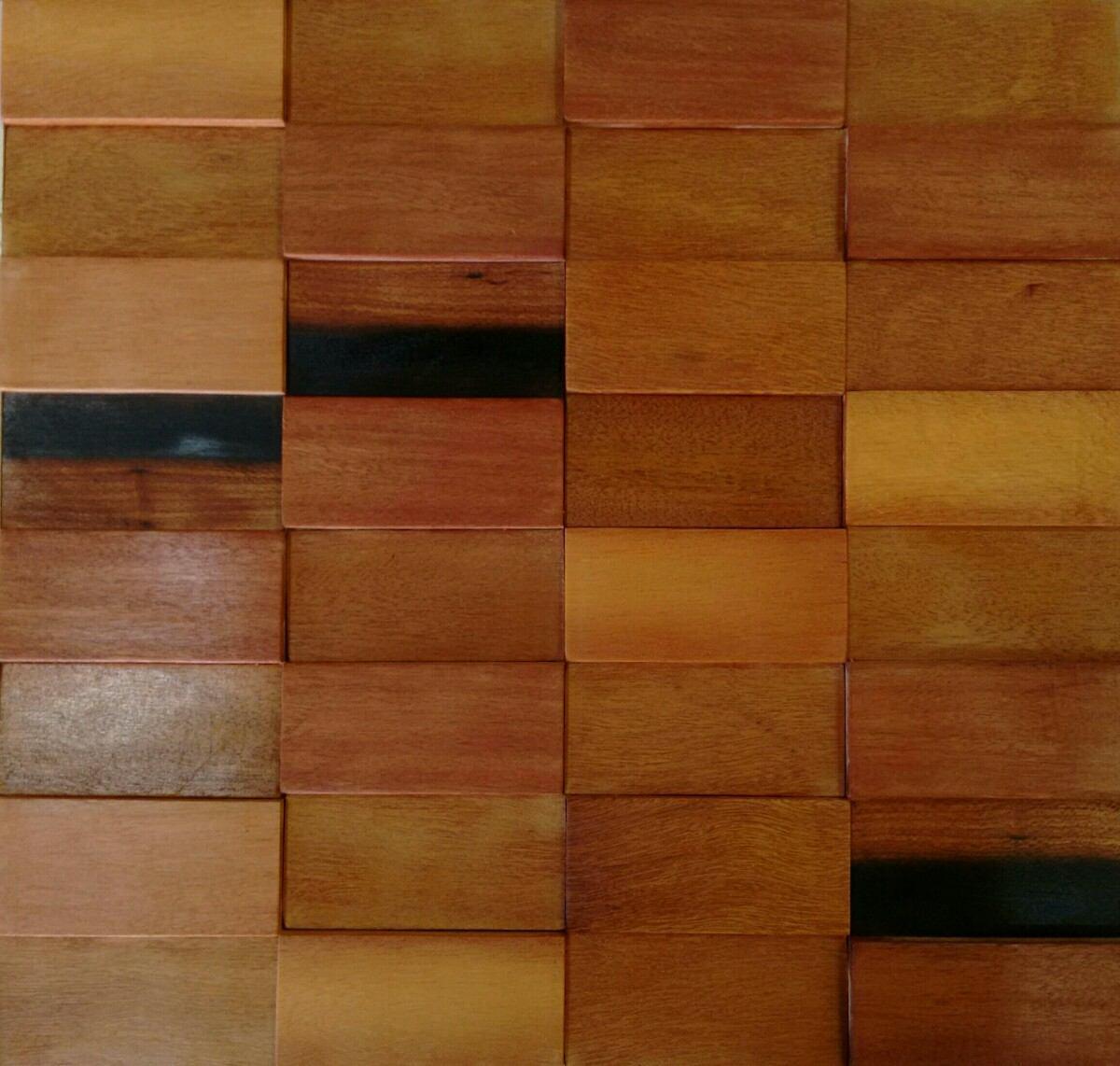 Revestimento De Parede De Madeira Pastilha Mosaico R 21 90 Em  -> Foto De Parede De Madeira