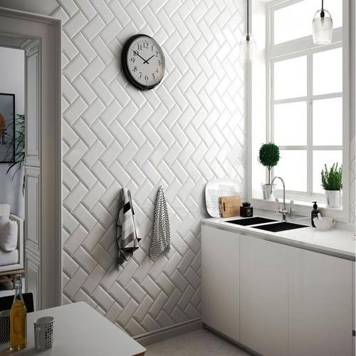 revestimiento azulejo acuarela blanco brillante 7.5x15 pared
