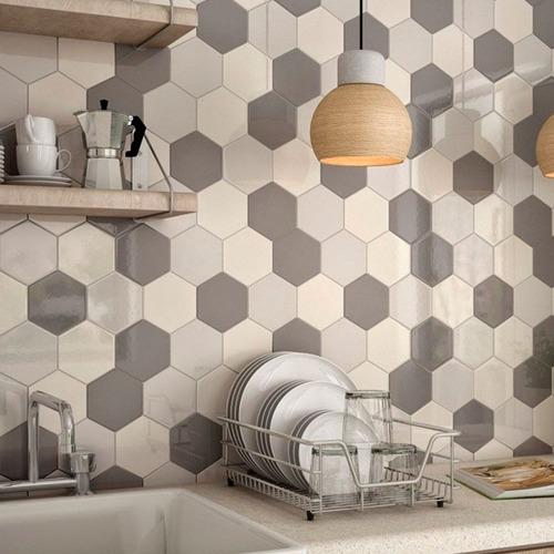 revestimiento azulejo malla acuarela hexagono hexagonal m2