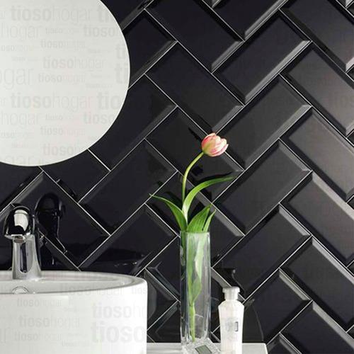 revestimiento azulejo negro brillante 7.5x15 new york diseño