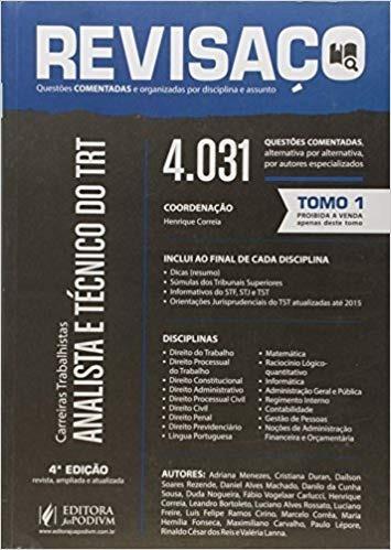 revisaço analista e tecnico do trt tomo 1 e 2 4ª ed. (2016)