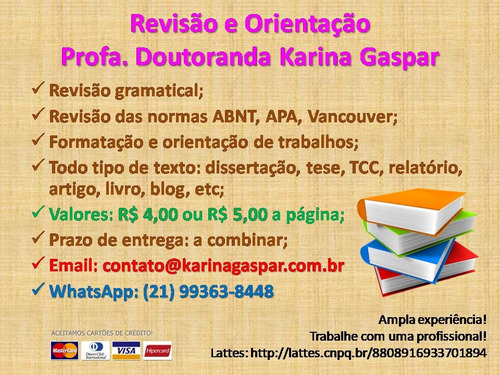 revisão e orientação de trabalhos acadêmicos