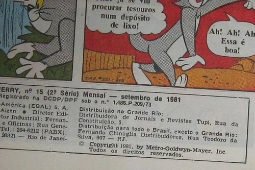 revista antiga do tom e jerry formato grandão anos 80.