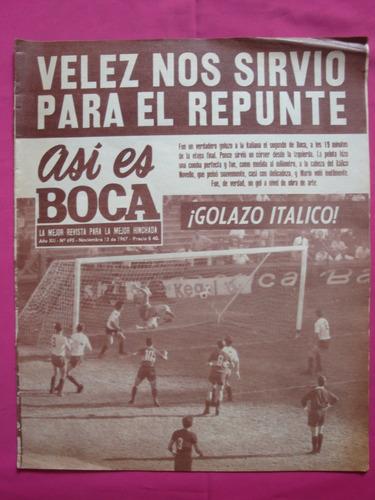 revista asi es boca n° 695 año 1967 - boca 3 - velez 1