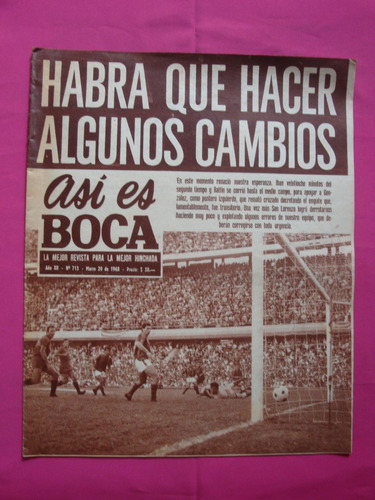 revista asi es boca n° 713 año 1968 - boca 1 - san lorenzo 2