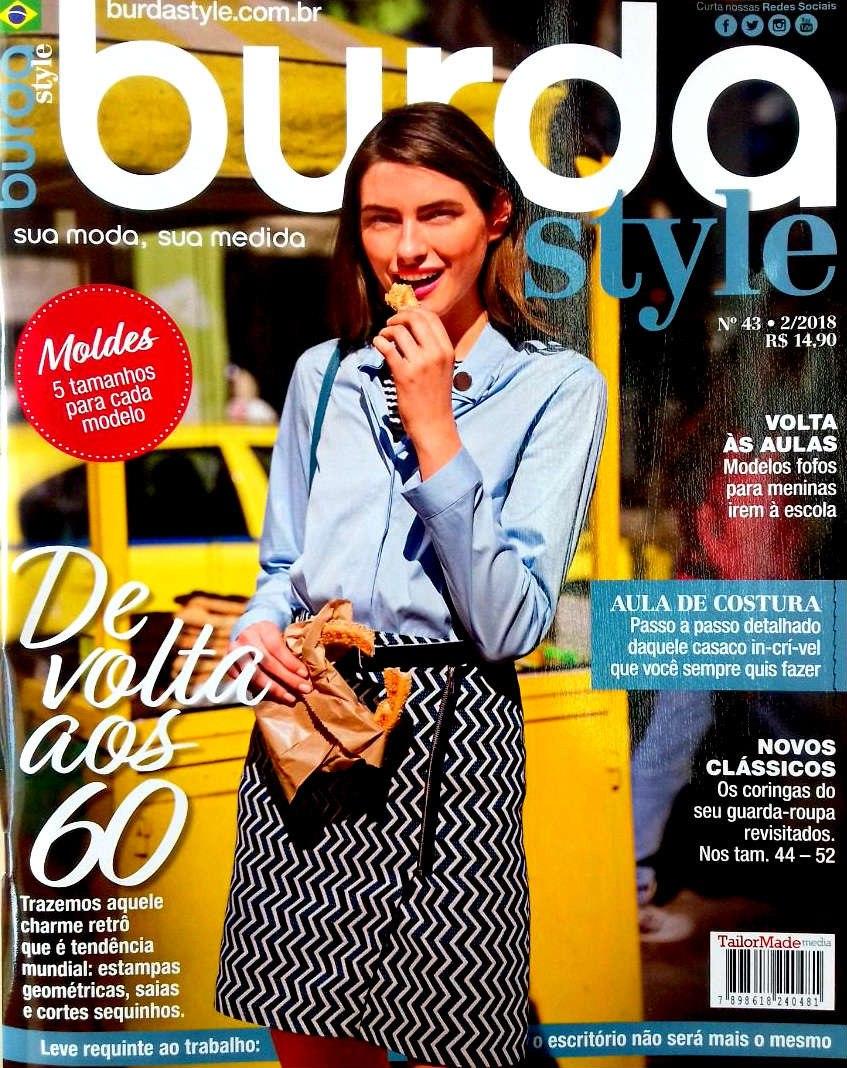 revista burda style anos 60 moldes 5 tamanhos fev 2018 nova! Carregando  zoom. 8440349db7a7
